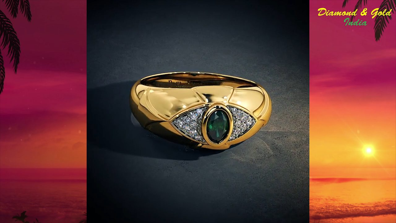 Emerald Solitaire Engagement Ring With Diamonds
