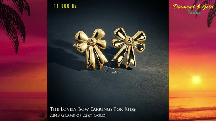 Bow Gold Stud Earrings For Babies